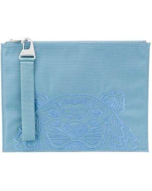 Torba sprzęgło niebieski z haftem Kenzo