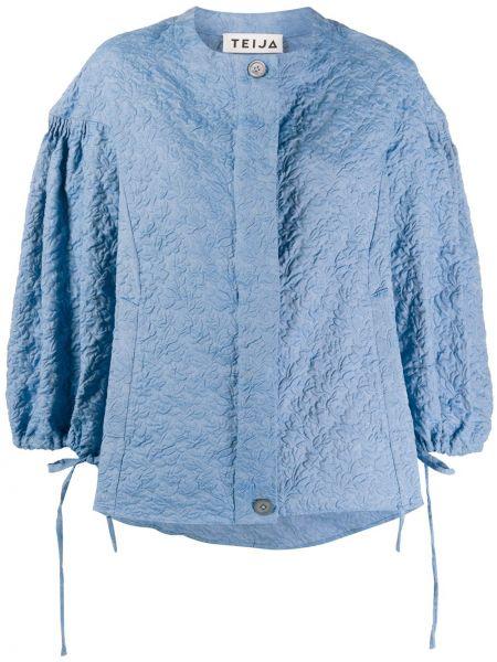 Синяя куртка с манжетами на пуговицах круглая Teija