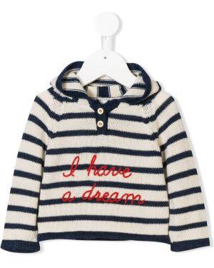 Sweter z kapturem w paski wełniany Oeuf