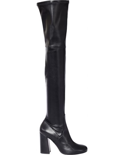 Черные кожаные ботфорты Roberto Serpentini