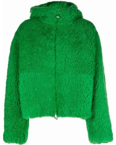 Кожаная куртка с капюшоном - зеленая Bottega Veneta