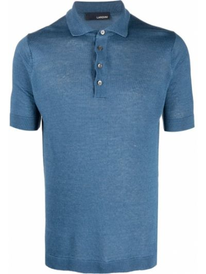 Niebieska koszula krótki rękaw materiałowa Lardini