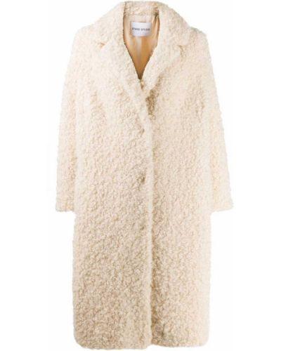 Шерстяное бежевое длинное пальто с воротником Stand