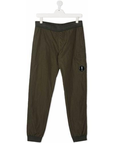 Хлопковые спортивные зеленые спортивные брюки с поясом Cp Company Kids