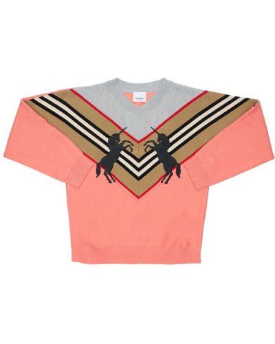 Wełniany różowy sweter Burberry