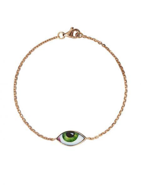 Ażurowa zielona złota bransoletka ze złota Lito