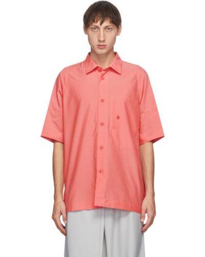 С рукавами розовая рубашка с короткими рукавами с воротником с карманами 132 5. Issey Miyake