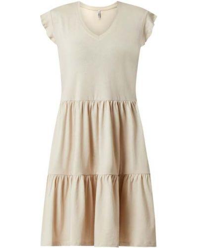 Beżowa sukienka rozkloszowana bawełniana Only