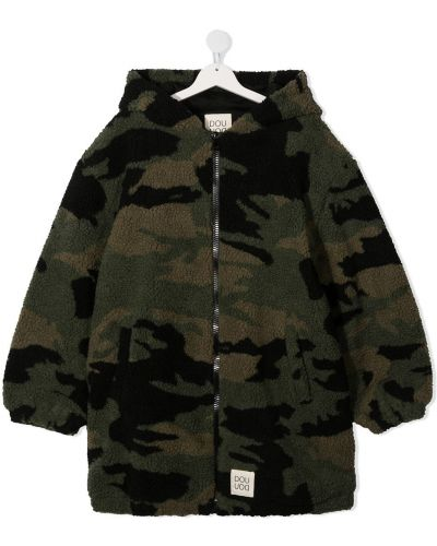 С рукавами черное пальто классическое с капюшоном Douuod Kids