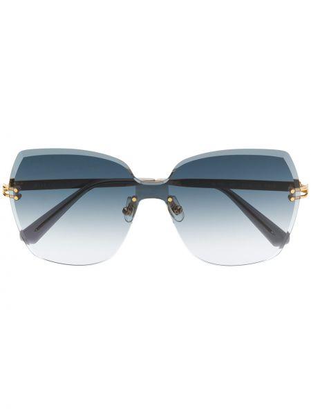 Złote niebieskie okulary oversize Bolon