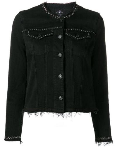 Черная джинсовая куртка с манжетами на пуговицах 7 For All Mankind