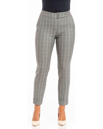 Костюмные бежевые зауженные брюки на резинке с карманами Merlis