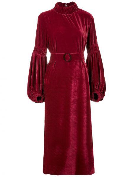 Платье миди красный с рукавами Framed