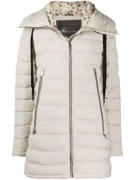 Прямое длинное пальто с капюшоном айвори Moose Knuckles