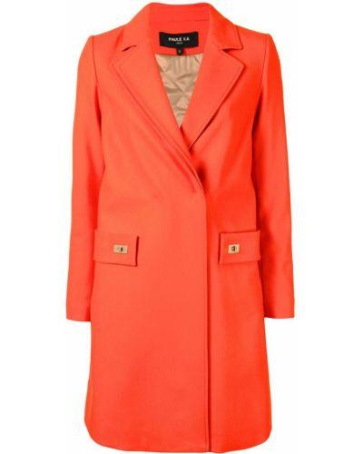 Оранжевое шерстяное длинное пальто с лацканами Paule Ka
