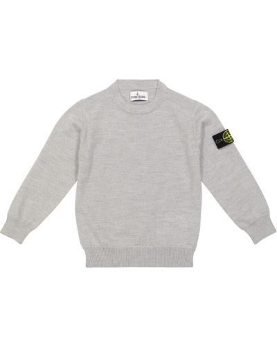 Шерстяной свитер - серый Stone Island Junior