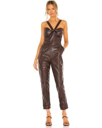 Розовый кожаный комбинезон с карманами Kendall + Kylie