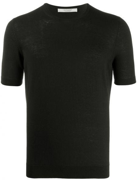 Черная прямая рубашка с короткими рукавами La Fileria For D'aniello