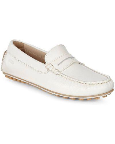 Мокасины кожаные белые Ecco