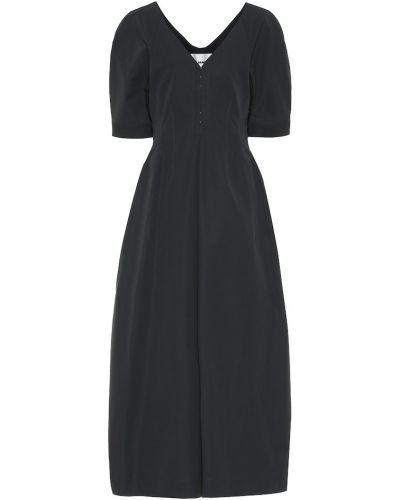 Ватное серое платье миди из габардина Jil Sander