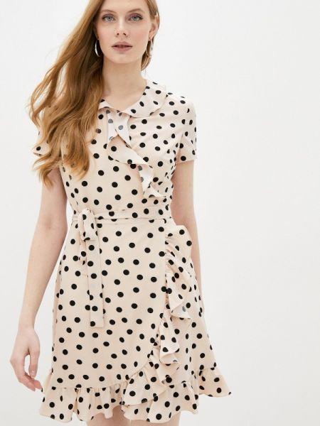 Однобортное бежевое платье Self Made