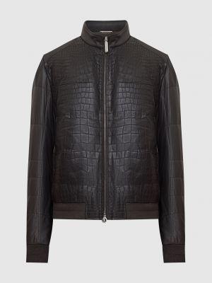 Кожаная куртка из крокодила - коричневая Stefano Ricci