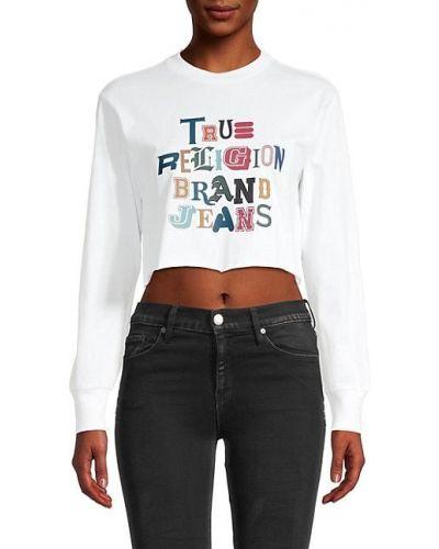 Ватный хлопковый белый свитшот True Religion
