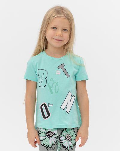 Хлопковая синяя с рукавами футболка Button Blue
