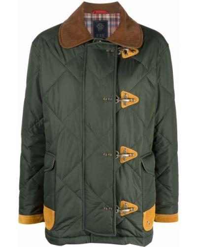 Кожаная куртка длинная - зеленая Fay