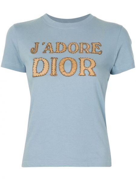 Niebieski t-shirt bawełniany krótki rękaw Christian Dior