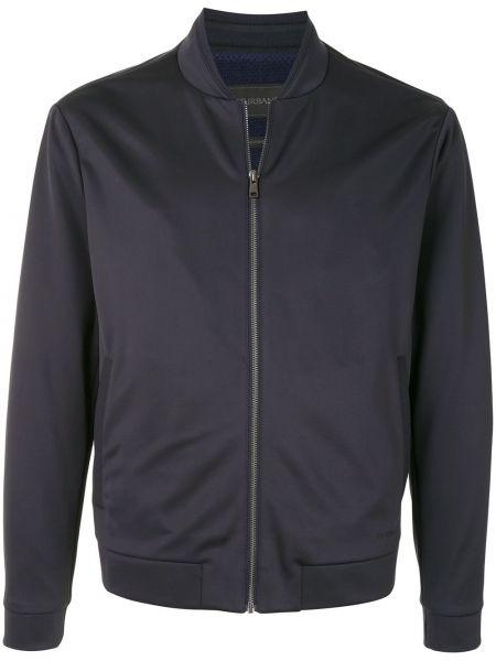 Классическая синяя длинная куртка с манжетами с воротником D'urban