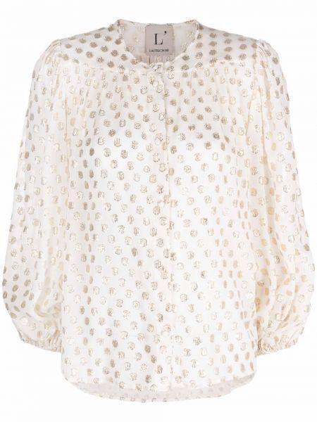 Белая блузка в горошек из вискозы Lautre Chose