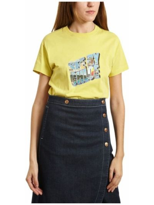Żółty t-shirt bawełniany krótki rękaw See By Chloe