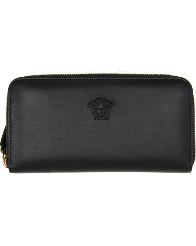 Czarny portfel skórzany Versace