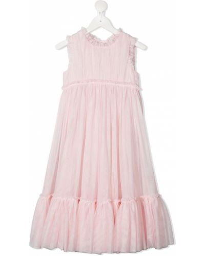 Różowa sukienka rozkloszowana tiulowa Charabia