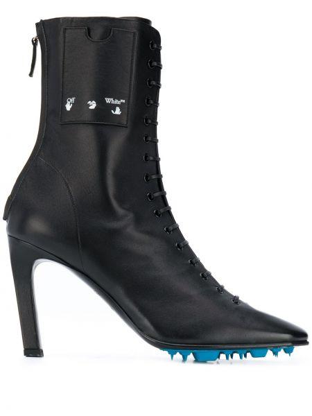 Ażurowy czarny buty na pięcie z prawdziwej skóry na pięcie Off-white