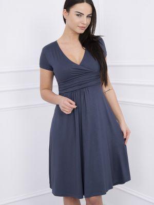 Szara sukienka mini rozkloszowana z długimi rękawami Kesi