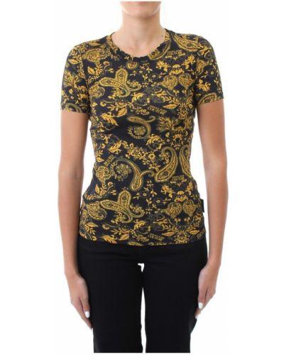 Czarny t-shirt krótki rękaw Versace Jeans Couture