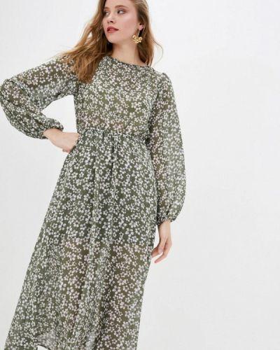 Прямое зеленое платье А-силуэта 7arrows