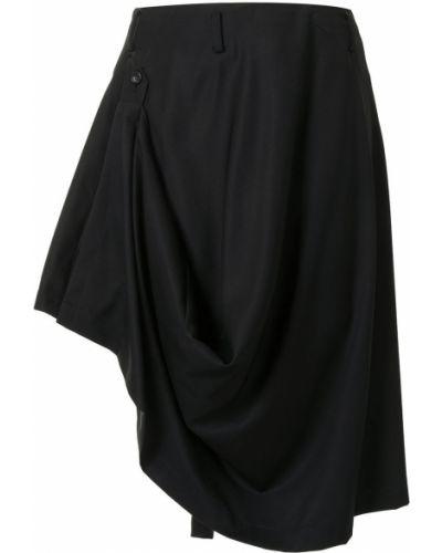 Wełniany czarny asymetryczny spódnica z draperią Comme Des Garcons Homme Plus
