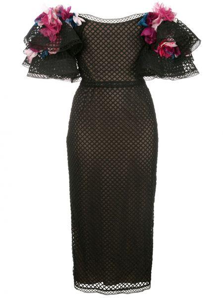 С рукавами шелковое черное платье миди Marchesa