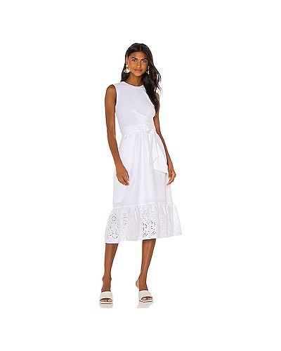 Хлопковое белое платье с декоративной отделкой с подкладкой Parker