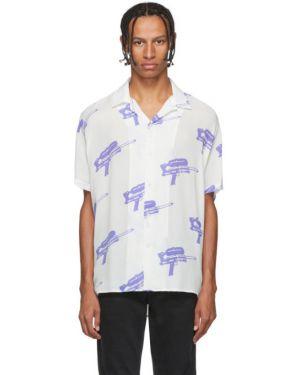 Открытая фиолетовая рубашка с короткими рукавами с воротником из вискозы Nasaseasons