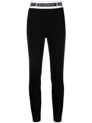 Czarne legginsy z wiskozy z printem Givenchy