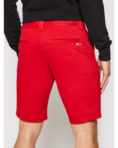 Czerwone szorty jeansowe materiałowe Tommy Jeans
