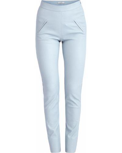 Кожаные брюки - голубые Maison Ullens