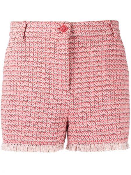 Красные с завышенной талией хлопковые шорты Pinko