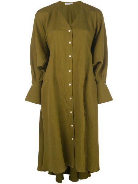 Зеленое платье миди оверсайз на пуговицах из вискозы Palmer / Harding