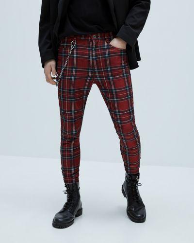Красные брюки в клетку с поясом Zara