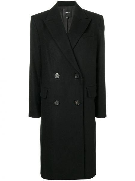 Черное прямое шерстяное пальто на пуговицах Theory